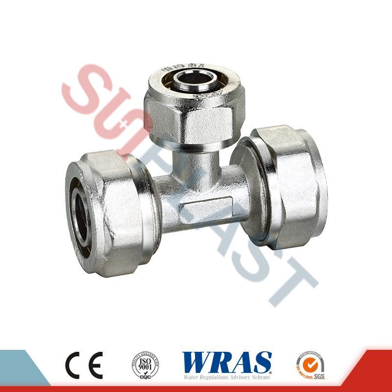 Compresión igual de latón en forma de T para tubo PEX de múltiples capas PEX-AL