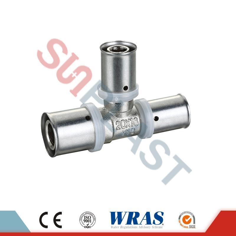 Te de reducción de presión de latón para tubo multicapa PEX-AL-PEX