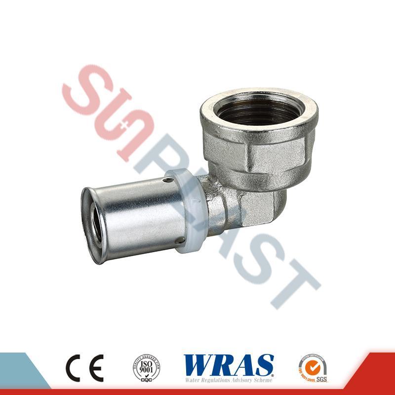 Prensa de latón codo hembra para tubo multicapa PEX-AL-PEX
