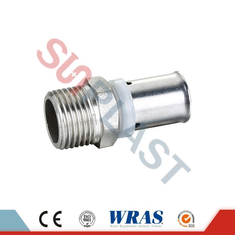 Acoplamiento macho de presión de latón para tubería multicapa PEX-AL-PEX