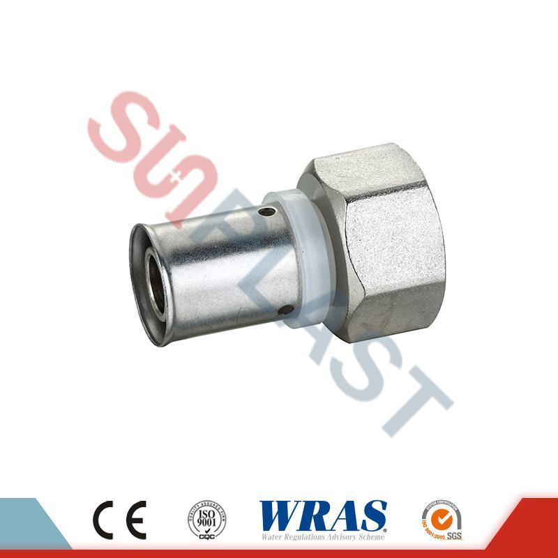 Acoplamiento hembra de presión de latón para tubería multicapa PEX-AL-PEX
